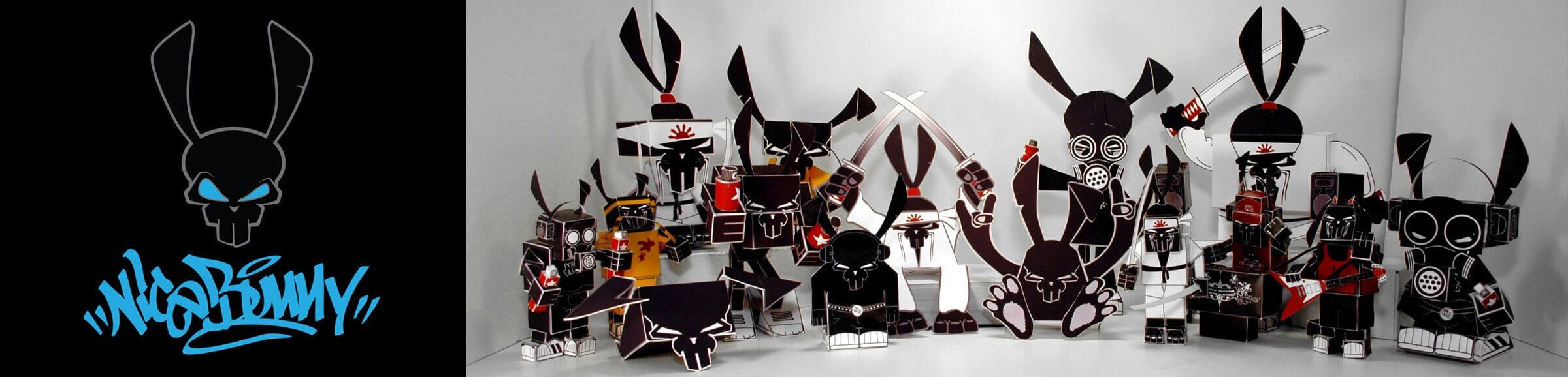 free, paper toys, nicebunny, characters, downloads