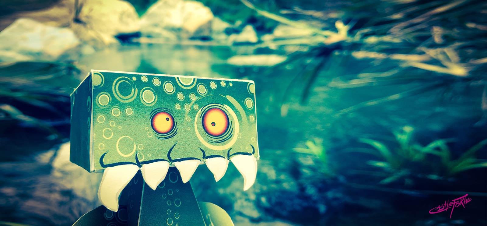 Sea Monster HedKase Paper Toy